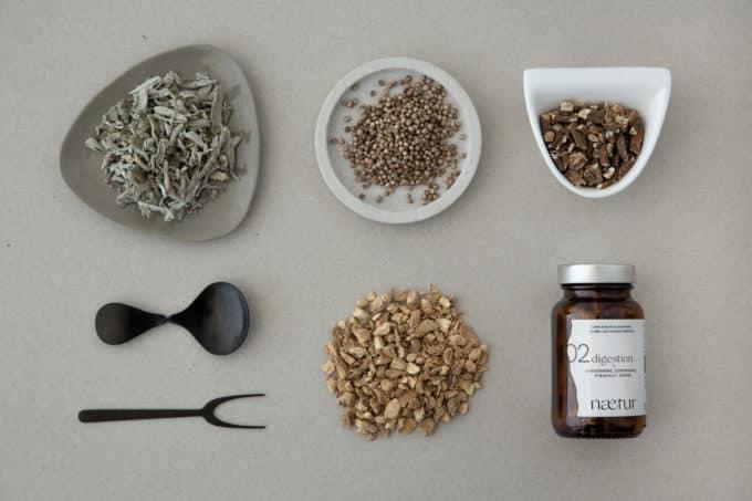 Les ingrédients du complément alimentaire récupération bio : gingembre, coriandre, pissenlit et sauge.