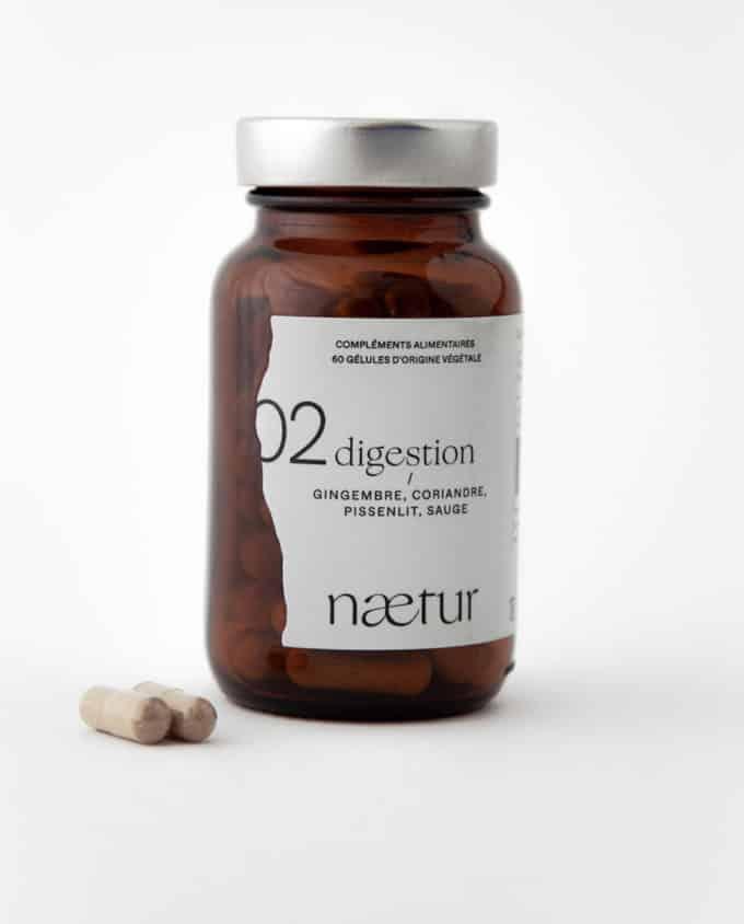 Complément alimentaire digestion bio 02 (Naetur), pour mieux digérer, vegan : gingembre, coriandre, pissenlit et sauge.