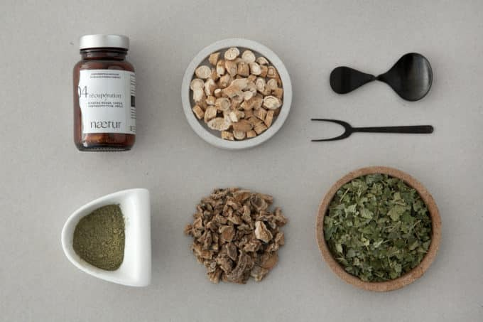 Les ingrédients du complément alimentaire récupération bio : ginseng rouge, cassis, harpagophytum et prêle.