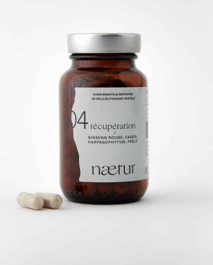 Complément alimentaire récupération bio 04 (Naetur), pour mieux récupérer après le sport, vegan : ginseng rouge, cassis, harpagophytum et prêle.
