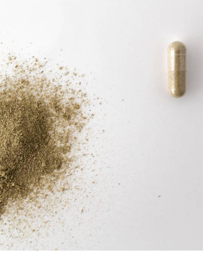 Gélule et poudre du complément alimentaire bio Sommeil 100% plantes : passiflore, eschscholzia, valériane et houblon.